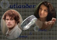 Outlander Claire Beauchamp Randall and James Alexander Malcolm MacKenzie Fraser by Diana Gabaldon — with Sam Heughan and Caitriona Balfe.